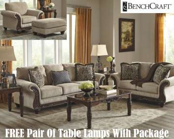 free pair of table lamps with this 5piece classic traditional living room package