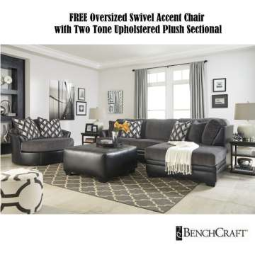 FREE Oversized Swivel Accent Chair With Two Tone