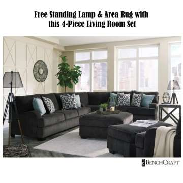 Living Room Set Beige Free Standing Lamp And Area Rug With This 4piece Upholstered Set Luthersales Living Room Furniture Buy Now Pay Later Financing Low Or Bad