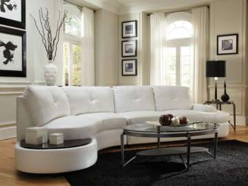 White Blended Leather Match Sectional With Built In Table Top
