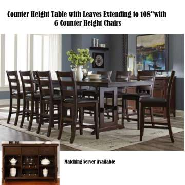 Warm Casual 7 Piece Counter Height Set Featuring A Table With Leaves