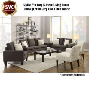 Elegant Stylish Yet Cozy 5 Piece Living Room Package Part 14