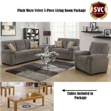 Superb Special Value; Plush Micro Velvet Oatmeal · 5 Piece Living Room Package  With Lofty Cushions ... Part 17
