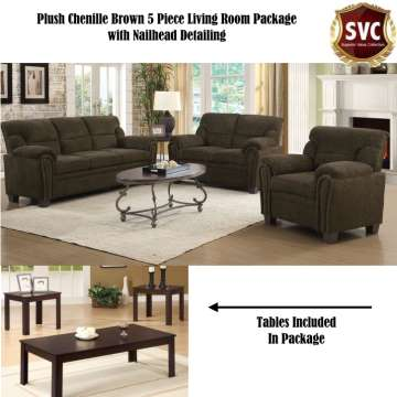 Great Plush Chenille Brown 5 Piece Living Room Package Part 5