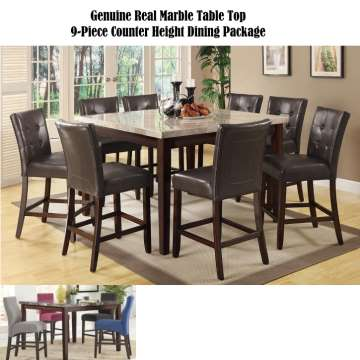 Genuine Real Marble Table Top 9PC Counter Height
