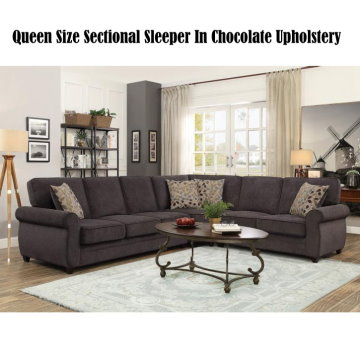 Chenille Queen Size Sleeper Sectional In Chocolate Upholstery