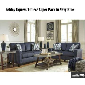 Ashley Express 7PC Super Pack In Navy Blue Upholstery