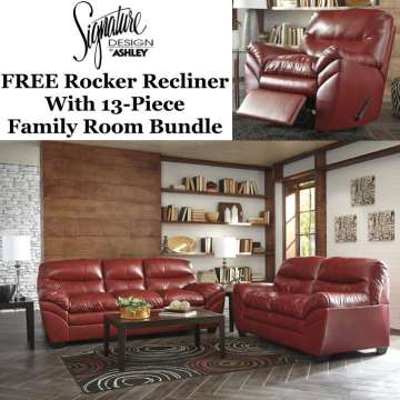 FREE Rocker Recliner With Complete 13 Piece Family Room Bundle