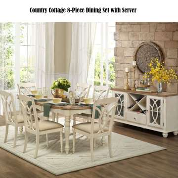 Complete Country Cottage 8 Piece Dining Set With Server