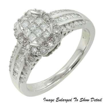 Women S 14k Round And Princess Diamond Engagement Ring In White Gold