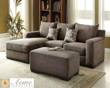 Gray Chenille 2-Piece Sectional Plus Ottoman Featuring Ultra Plush Comfort & A Warm Intimate Feel