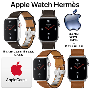 Apple 44mm Hermes Stainless Steel Case Watch W/GPS + Cellular Bundled W/AppleCare+ Protection Plan