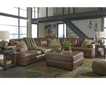TopGrain Genuine Lthr Match 3PC Sectional + Ottoman In A Beautiful Nutmeg Color W/UltraPlush Seating