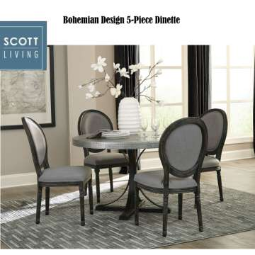 Bohemian Design 5-PC Dinette; Metal Crafted Table w/Zinc Leg Finish & Grey Linen Upholsted Chairs