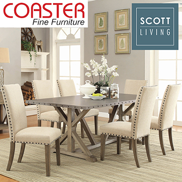 Top Selling Farmhouse/Industrial Styled Set Featuring Nailhead Trim Accents on Table & Chairs