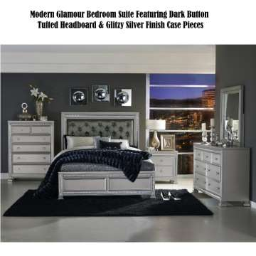 Modern Glamour Bedroom Suite Featuring Dark Gray Button Tufted Headboard & Glitzy Silver Finish Case