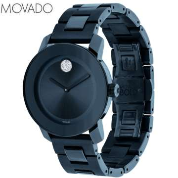 Movado Women's Swiss Bold Ink Blue Ion-Plated Stainless Steel Bracelet Watch 36mm