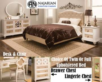 Choice Of Tw Or Fl Uph Bed W/The Chic & Feminine Paris Collection In A Pearl Finish W/AcrylicTufting