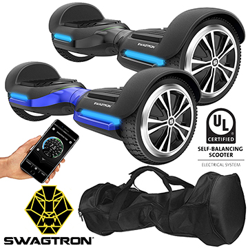Swagtron Swagboard Vibe Bluetooth w/Speaker, Carrying Case and 2 Year Protection