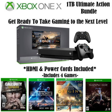 microsoft xbox one x 1tb ultimate action bundle includes 2 controllers hdmi cable u0026