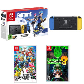 Nintendo Switch Fortnite Wildcat Console with Luigi's Mansion 3 and Super Smash Bros Ultimate