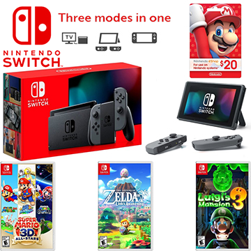 Nintendo Switch Console with Gray Joy-Con with a $20 Card and 3 Games