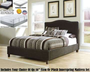 Sleek Contemporary Upholstered Bed Complete W/Qn 16' Firm Or Plush Innerspring Mattress & Foundation
