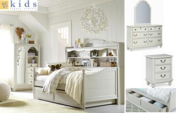 Inspirations By Wendy Bellissimo Twin Bookcase Daybed w/Trundle Storage Drawer in Morning Mist Gray